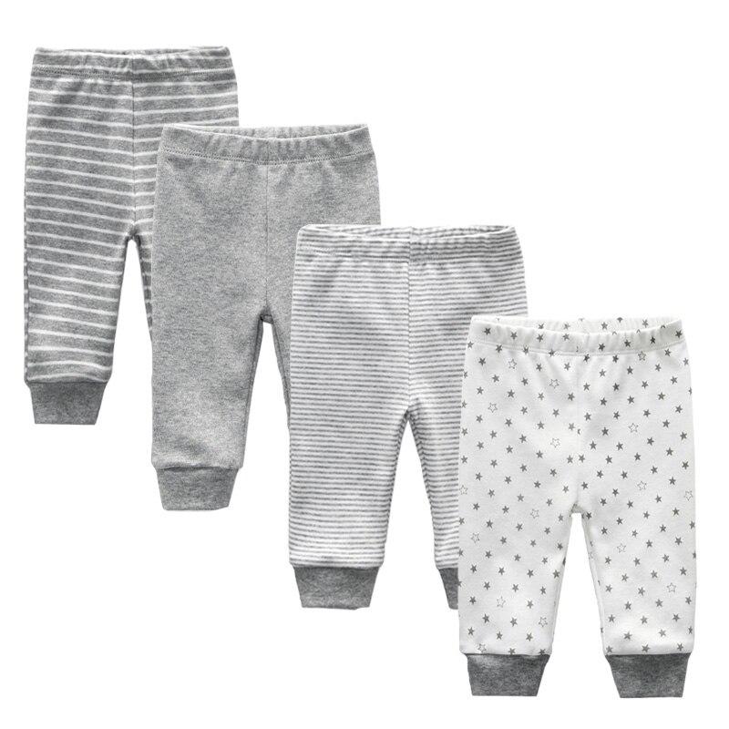 2019 3/4PCS/LOT 0-12M Solid Unisex Newborn Cotton Infant Striped Baby Pants Cartoon Baby Gril Pants Baby Boy Legging