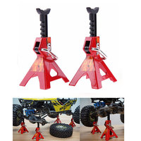 2pcs Simulation 6 Ton Metal Scale Adjustable Height Metal Jack Stands For Axial SCX10 TAMIYA CC01 D90 D110 TF2 RC Trucks