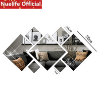 DIY square irregular pattern mirror stickers living room bedroom bathroom study background decoration wall stickers N4