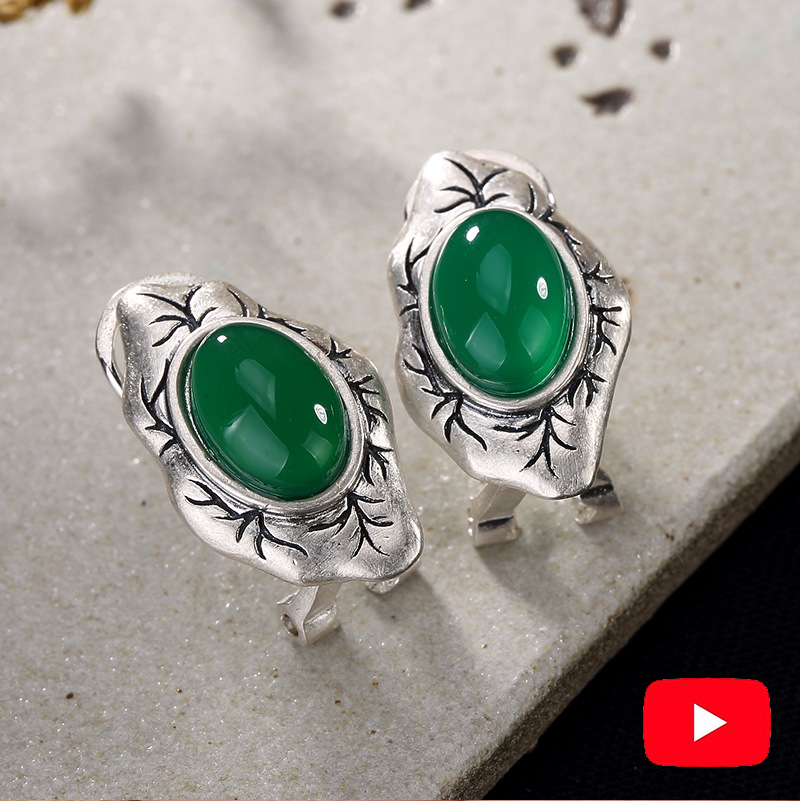 NOT FAKE S925 Fine Jewelry Stud Earrings Emerald Leaf Branch Oval Taste Women Handmade Vintage Natural emerald moldavite peridotNOT FAKE S925 Fine Jewelry Stud Earrings Emerald Leaf Branch Oval Taste Women Handmade Vintage Natural emerald moldavite peridot