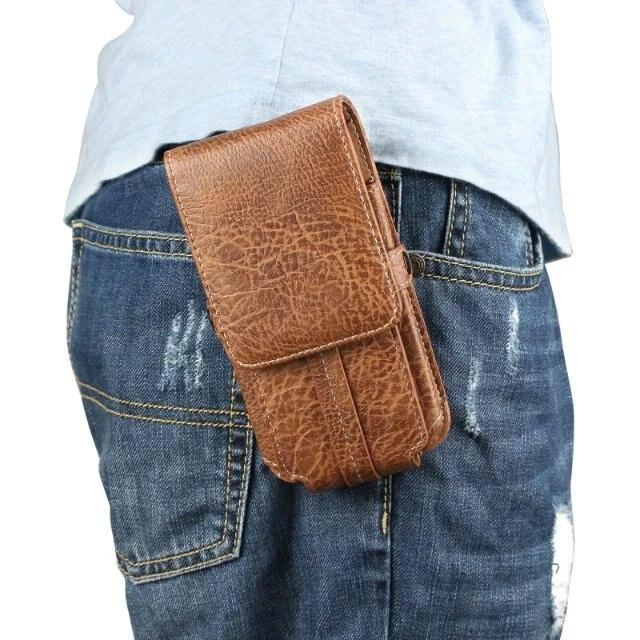 imágenes para Patrón de piedra de la pu de cuero de los hombres bolso de la cintura clip de cinturón bolsa de la pistolera del teléfono móvil para microsoft nokia lumia 950 xl