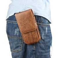 Stone Pattern Pu Leather Men Waist Bag Clip Belt Pouch Mobile Phone Holster Case For Microsoft