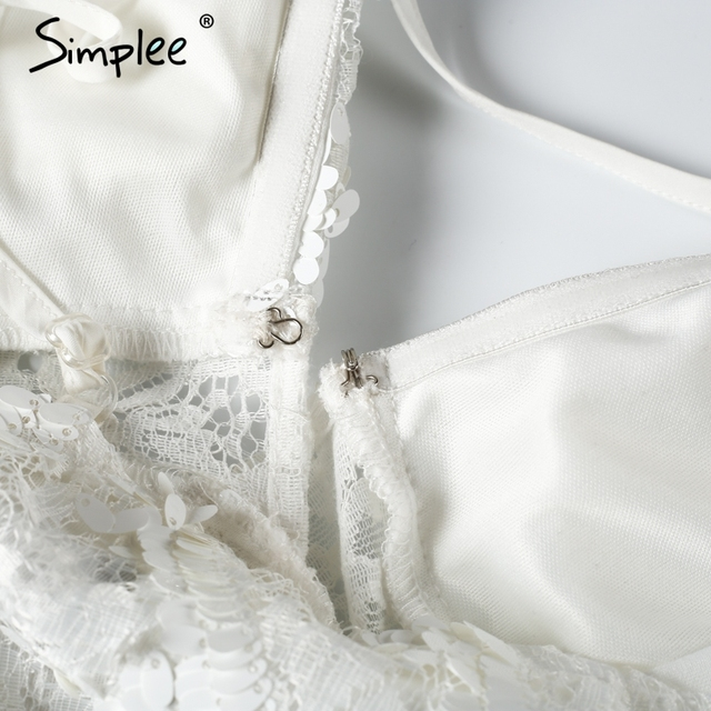 Simplee V neck sequined lace jumpsuit romper women Sexy backless padded party overalls Summer sleeveless playsuit