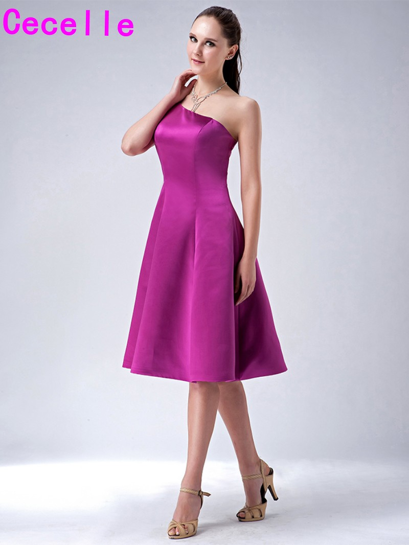 Purple short bridesmaid dresses simple a line knee length one purple short bridesmaid dresses simple a line knee length one shoulder wedding party dress country bridesmaid robes informal in bridesmaid dresses from ombrellifo Gallery