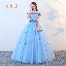 de81d2e40 ABULE Quinceañera vestidos 2018 srtapless de encaje azul vestido de fiesta  vestido de Debutante de 15 años Capa sencilla tamaños.