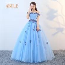 dcb36c354 ABULE Quinceañera vestidos 2018 srtapless de encaje azul vestido de fiesta  vestido de Debutante de 15