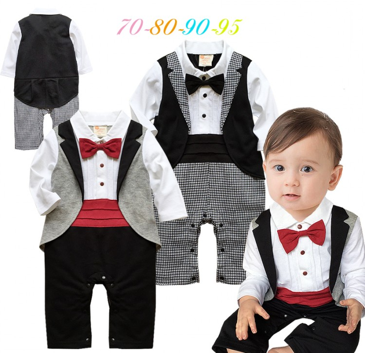 e925cccb685a8 US $89.3 6% OFF|DHL EMS Free shipping Infants Baby boys gentleman party One  piece set Bow Romper overall bow Suit 70 80 90 95 Checker Baby Wear-in ...