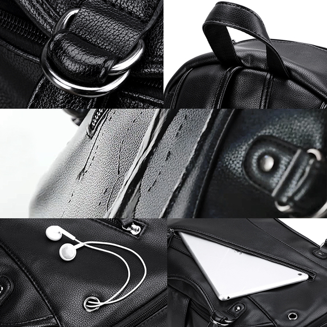 Men's Travel Backpack Casual PU Leather External USB Charge Waterproof