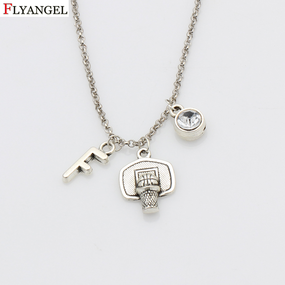 Men Sports Hip Hop Jewelry Basketball Hoop Pendant Necklaces Custom Initials Birthstone Chain Necklace Gifts