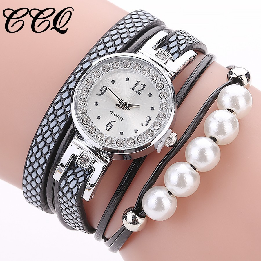 Hot Sale CCQ Women Silver Bracelet Pearls Clock Wrist Quartz Watch Luxury Fashion Ladies Watch Relogio Feminino Drop Shipping smileomg hot sale fashion women woven bracelet watch christmas gift free shipping sep 15