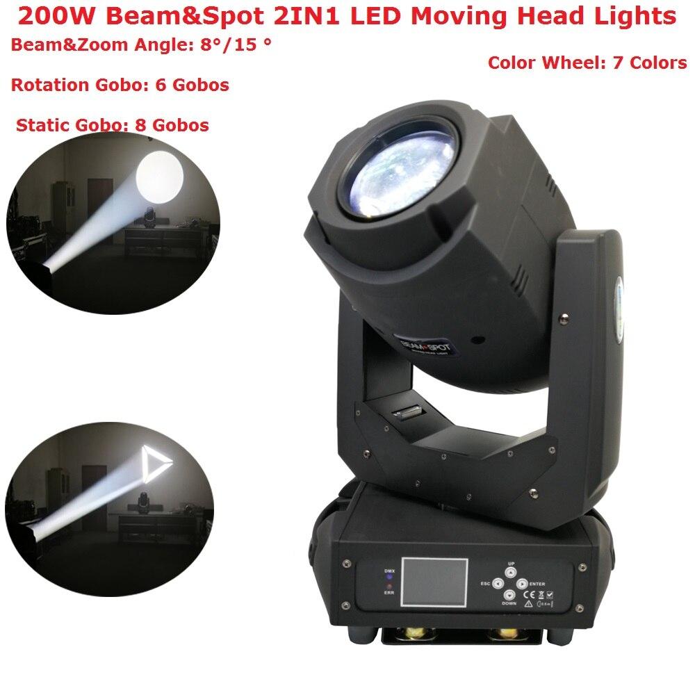 2018 этап светооборудование 200 Вт пятна луча 2IN1 светодиодный перемещение головы огни ЖК-дисплей Дисплей с 6 вращающихся гобо и 8 статичных гобо