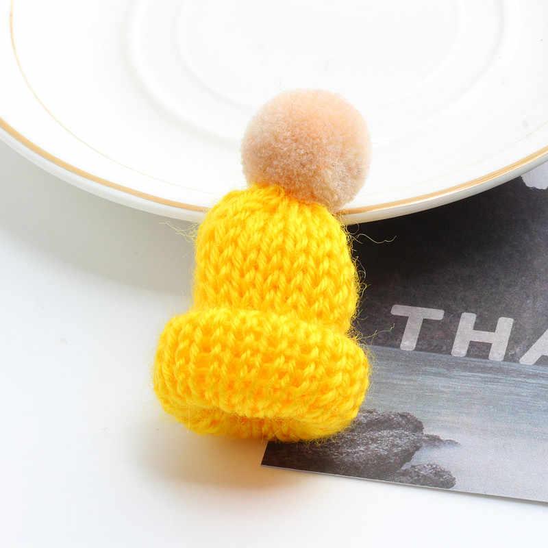 19 色かわいいミニニット毛玉帽子ブローチセーターピンバッジ襟服アクセサリークリエイティブ帽子ピンブローチ女性