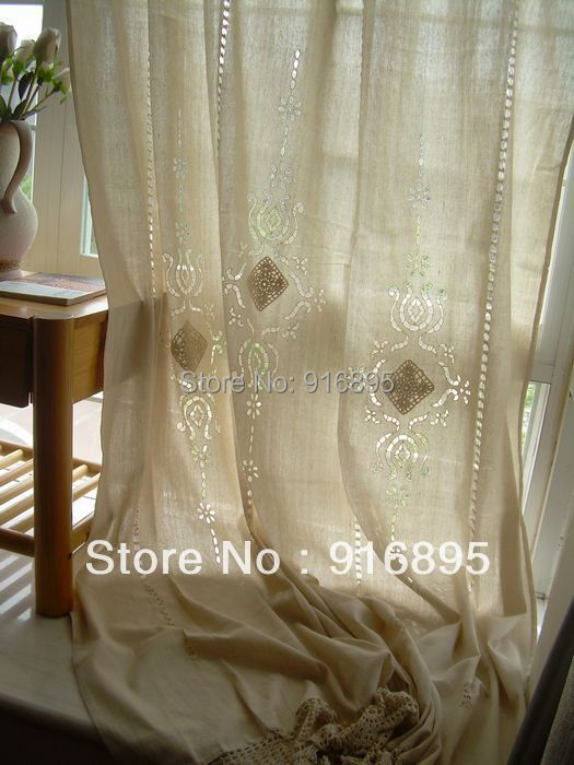 2 X French Country Provincial Beige Cotton Linen Crochet
