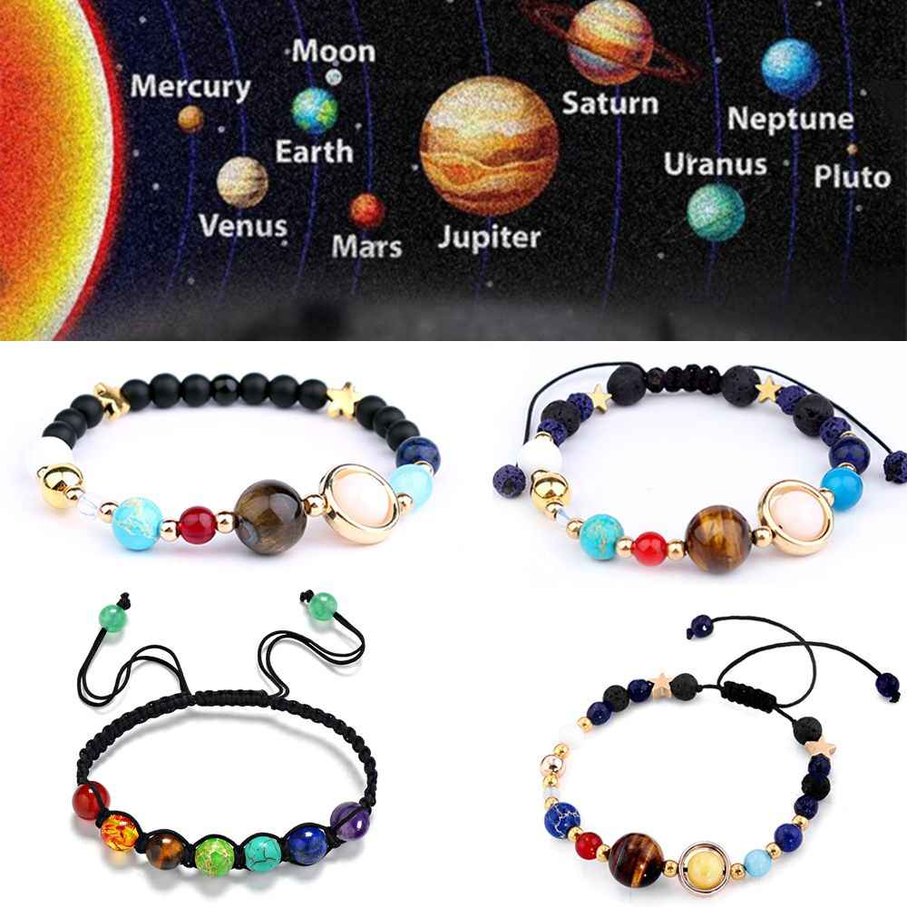 1Pcs Bracelet Fashion Universe Galaxy the Eight Planets Solar System Guardian Star Natural Stone Beads Bracelet Bangle Jewelry