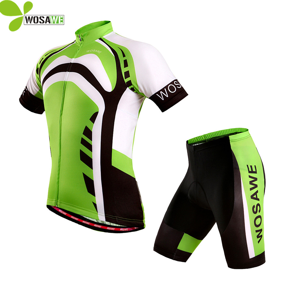 WOSAWE Summer Cycling Jersey Sets Maillot Men Bicycle Wear Short MTB Shirts Gel Padded Cycle Suits Sports Clothes Bike Clothing