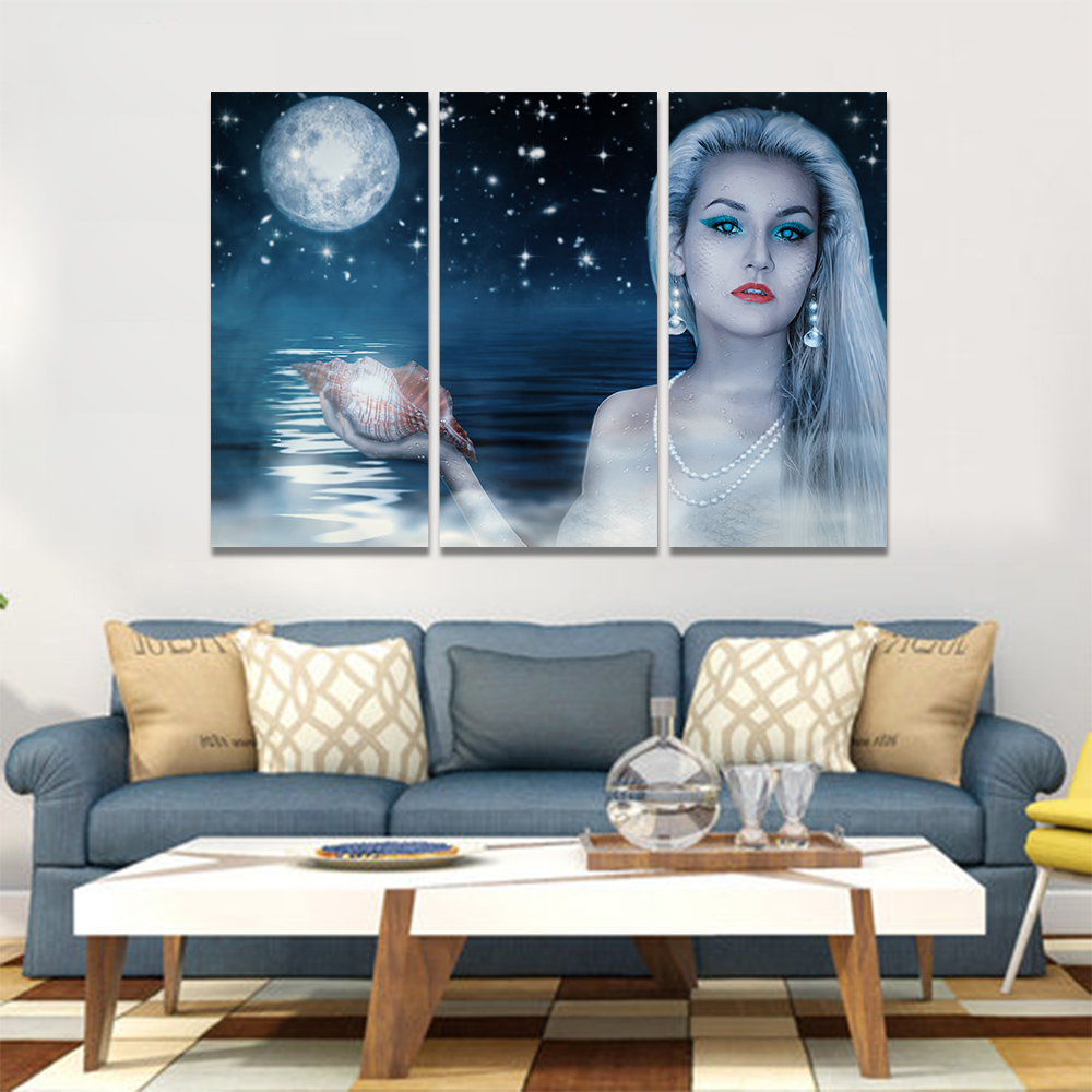 Unframed Canvas Painting A Mermaid With A Conch Full Moon Art Picture Prints Wall Picture For Living Room Wall Art Decoration