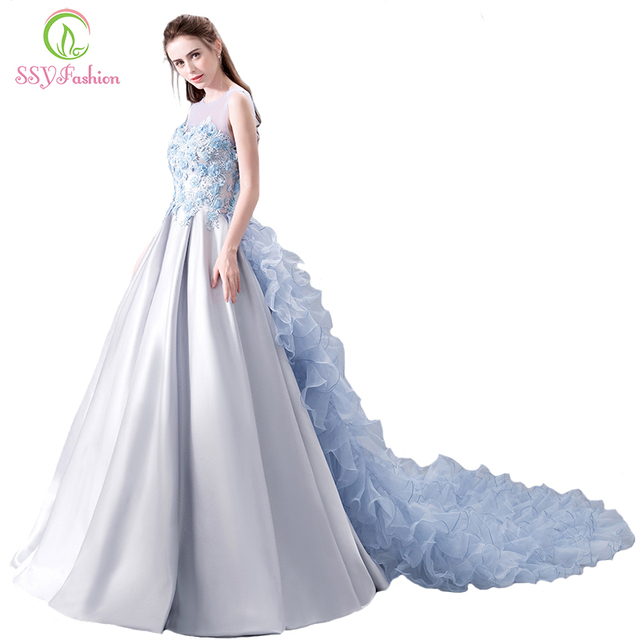 SSYFashion 2018 New High end Prom Dress The Banquet Luxury Grey ...
