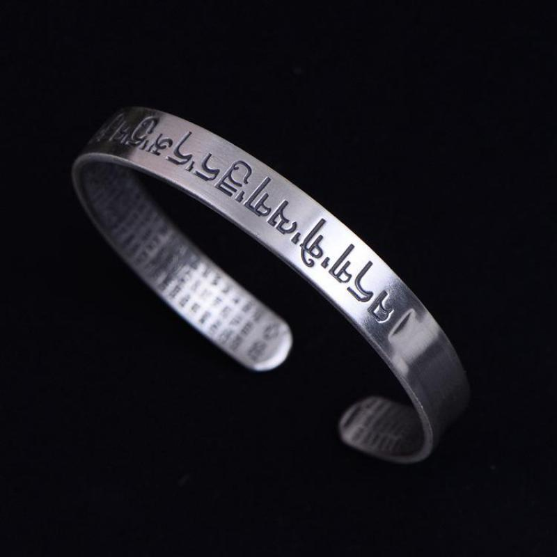 Sanskrit Six Words Bangles For Women And Men 999 Pure Silver Opening Cuff Bracelet Lovers Om Mani Padme Hum Buddhism Jewelry