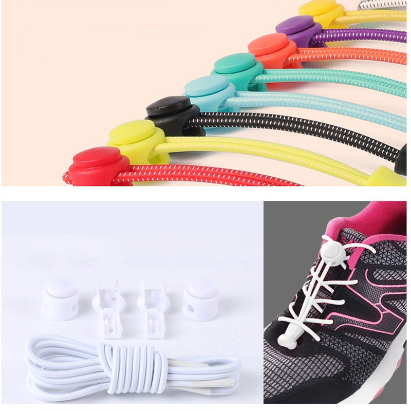 Galleria fotografica Colorful Locking Shoe Laces Elastic Shoelaces Shoestrings Running/Jogging/Triathlon/Sports Fitness Women Men Moving Accessories