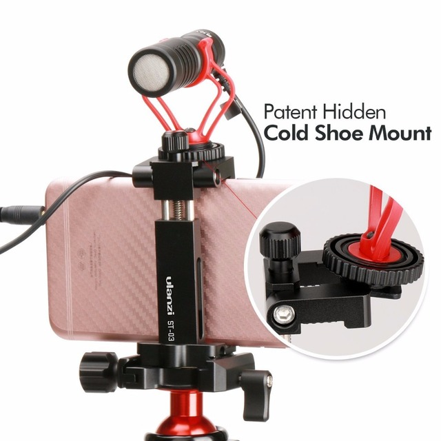 "Ulanzi ST-03 Aluminium Mobile Tripod Mount with Hot Shoe Mount for Boya Rode VideoMicro Microphone 1/4"" Tripod Clamp for iPhone"