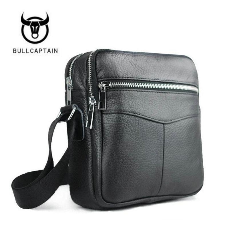New High Quality Genuine Leather Men Bag Small Messenger Bags Fashion Brand Design Men's Shoulder Bag Black