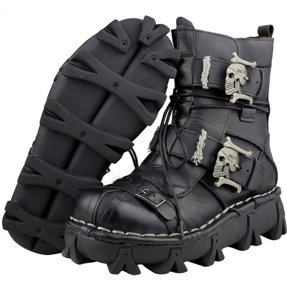Men s Cowhide Genuine Leather Motorcycle Boots Military Combat Boots Gothic Skull Punk Boots