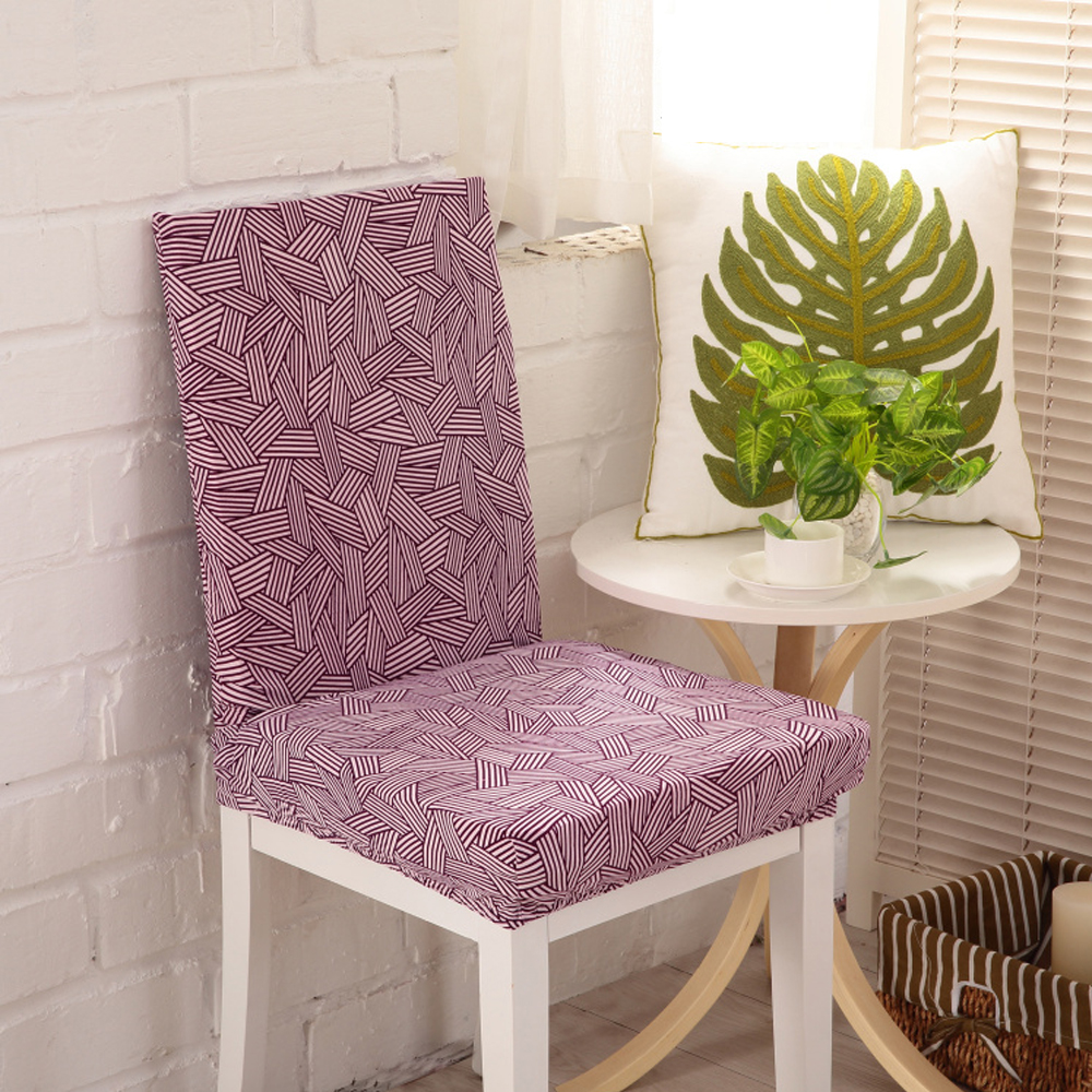 Yazi 6PCS Purple Stripe Super Fit Stretch Home Dining Room Chair Covers Protector Slipcover Washable Wedding Banquet