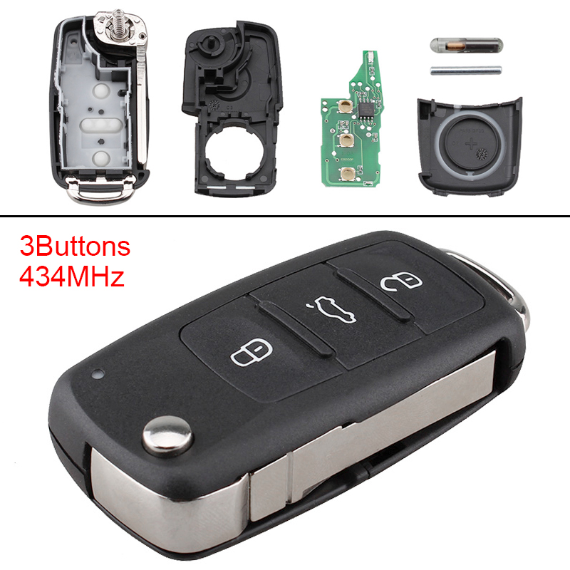 434MHz 3 Buttons Keyless Uncut Flip Remote Car Key Fob 5K0837202AD for VolksWagen Beetle Caddy Tiguan Touran Arriba Eos Golf434MHz 3 Buttons Keyless Uncut Flip Remote Car Key Fob 5K0837202AD for VolksWagen Beetle Caddy Tiguan Touran Arriba Eos Golf
