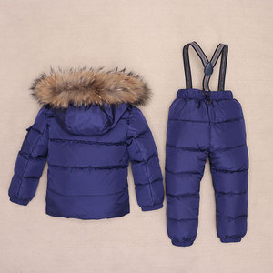 Image 2 - ボーイズ冬防寒着毛皮冬の女の子スーツアヒルダウン子供の男の子の服セット暖かい幼児ダウンパーカージャケットコート雪着用