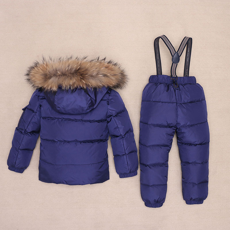 Boys Winter Snowsuit Fur Winter Girl Suit Duck Down Children Boys Clothing Sets Warm Toddler Down Parka Jacket Coat Snow Wear 2017 children wool fur coat winter warm natural 100% wool long stlye solid suit collar clothing for boys girls full jacket t021