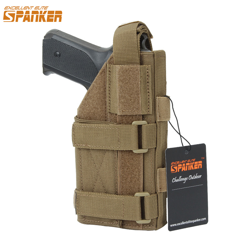EXCELLENT ELITE SPANKER EDC Tactical Universal Pistol Holster Outdoor Hunting Molle Accessories Bags Adjustable Military Gun Bag excellent elite spanker military vertical id card credit card tactical holder two in one with adjustable