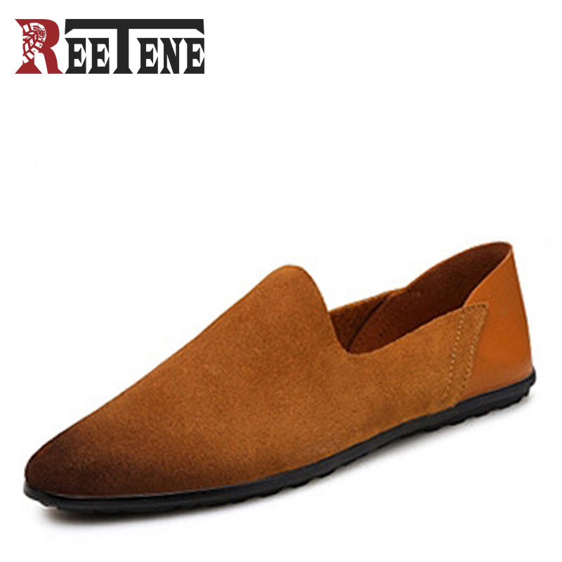 Fashion New Casual Men Loafers Cow Suede Handmade Genuine Leather Breathable Driving shoes For Male Large Size 38-48 Flats men s genuine leather casual shoes handmade loafers for male men waterproof flat driving shoes flats