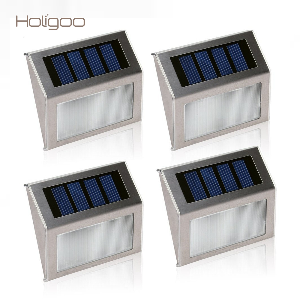 Holigoo 4pcs/lot Solar Lamp Outdoor Lighting Garden Path