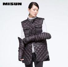 MISUN winter jacket women PU patchwork detachable shirt paragraph O-neck single breasted long-sleeve outwear down coat & parkas
