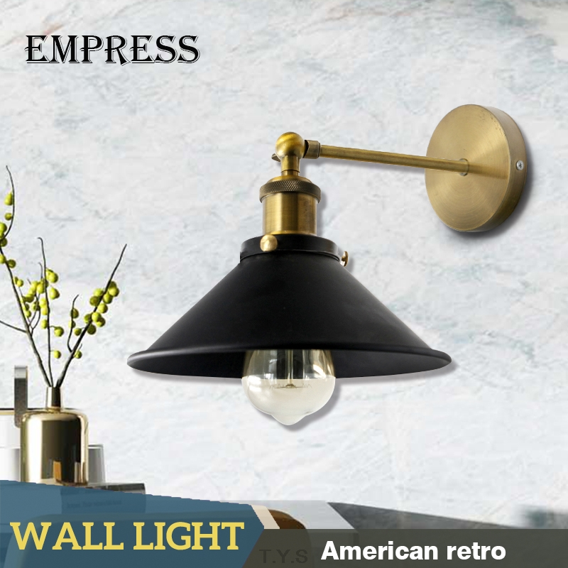 Retro Loft Wall Lamp Industry Vintage Metal Lampshade Sconces Edison Bulbs Wall Light Fixtures Night Light For Stairs BedroomRetro Loft Wall Lamp Industry Vintage Metal Lampshade Sconces Edison Bulbs Wall Light Fixtures Night Light For Stairs Bedroom