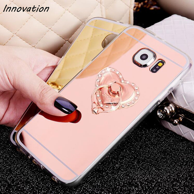 Innovation New Luxury Plating Finger Ring Holder TPU Soft Silicone Mirror Cover For Samsung Galaxy S7 edge S6 S8 Plus Phone Case