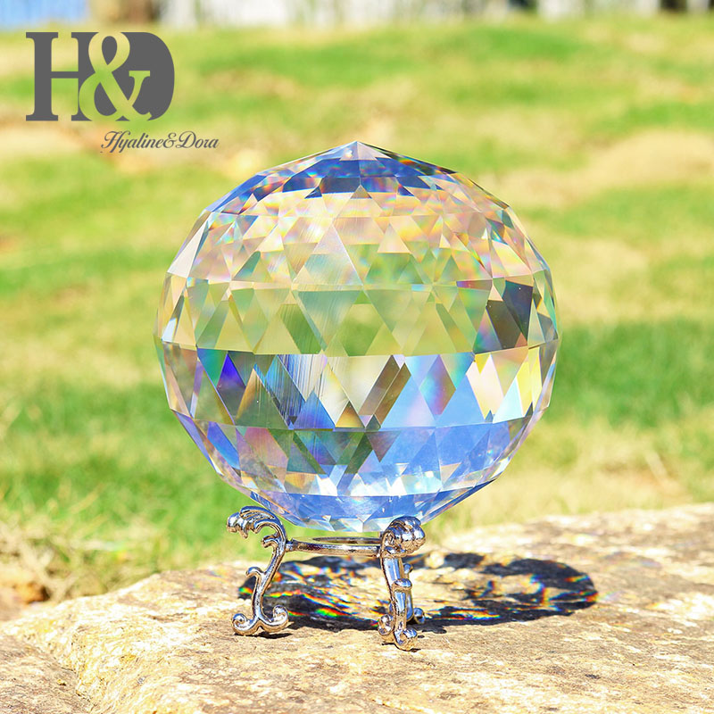 H&D 150mm Faceted Crystal Ball Feng Shui Paperweight Ornament Sphere Home Decoration Accessories with Metal Base