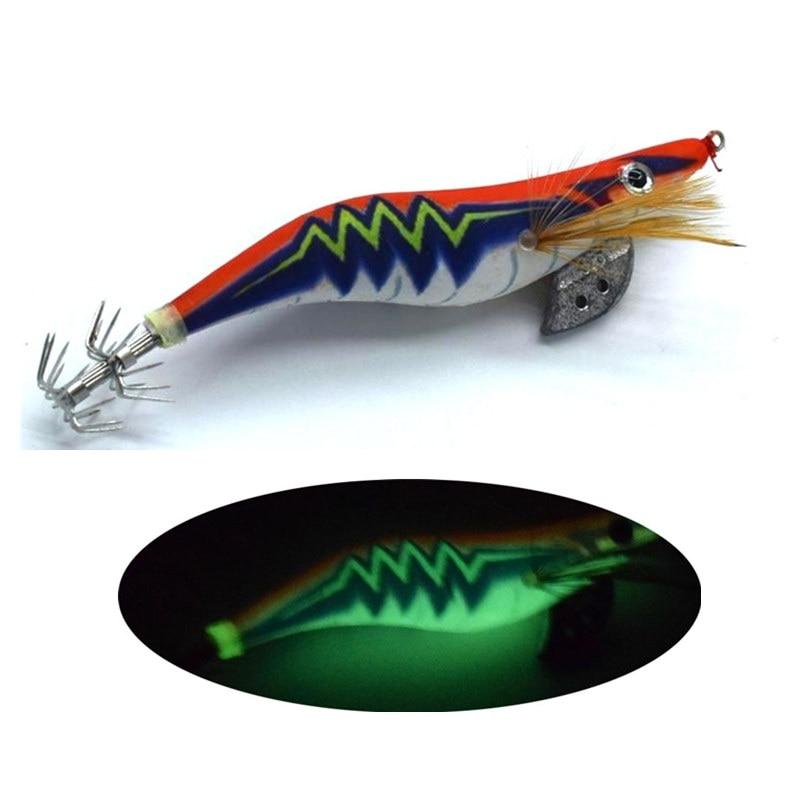 1Pcs Squid Jig Fishing Lures 3.5# Luminous Fishing Wood Shrimp Lure Squid Cuttlefish Jigs Bait Pesca Fishing Tackle