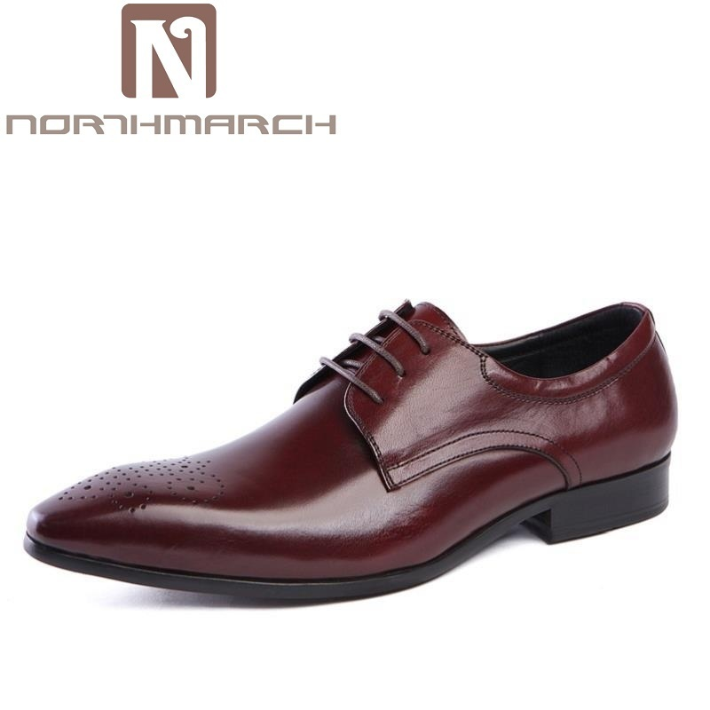 NORTHMARCH Spring Autumn Mens Shoes Dress Cowhide Leather Black Fashion Oxford Formal Business Male Shoes Wine Red sepatu pria