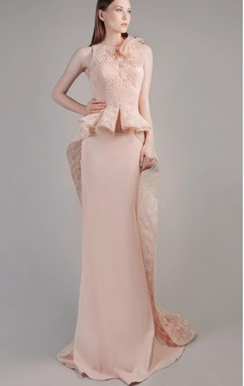 Romantic Blush Pink Stylish Peplum Long Evening Dresses 2016 O neck ...