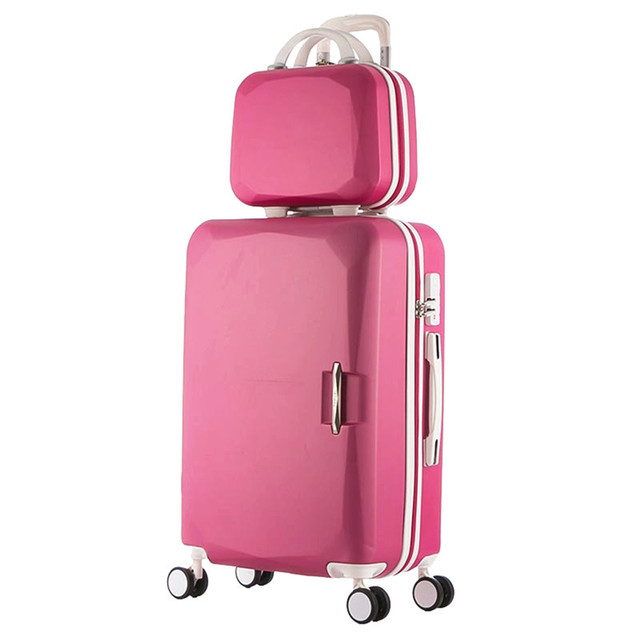 2017 Hot ABS+PC Children's and women's favorite trolley suitcase sets/8 Colors universal wheels men's trolley luggage mala