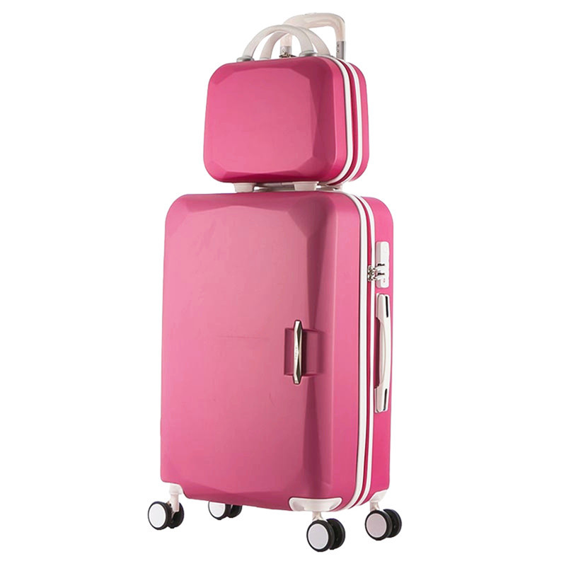 2018 Hot ABS+PC Children's and women's favorite trolley suitcase sets/8 Colors universal wheels men's trolley luggage mala