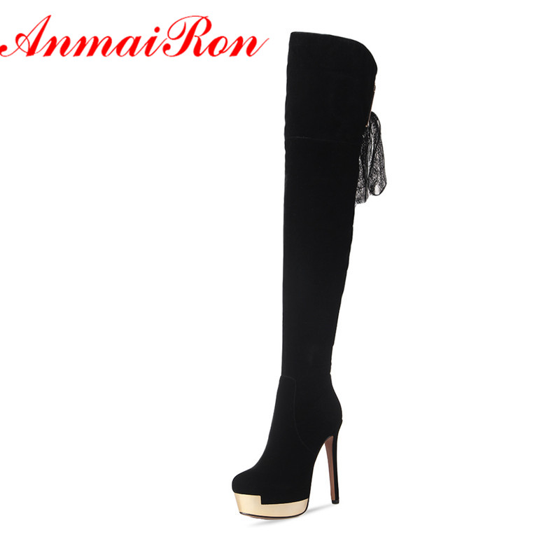 ANMAIRON High Heels Lace Charms Shoes Woman Over-the-knee Boots Zippers Round Toe Long Boots Size 34-39 Black Winter Boots Shoes