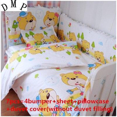 Promotion! 6/7 pièces bébé literie ensembles lit linge de lit pour enfants pare-chocs feuille unisexe, 120*60/120*70 cm