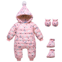 Baby Winter Clothes Girl Boys Romper Warm Snow Wear Infant Baby Overalls Long Sleeve Hooded Outerwear White Duck Down Snowsuit