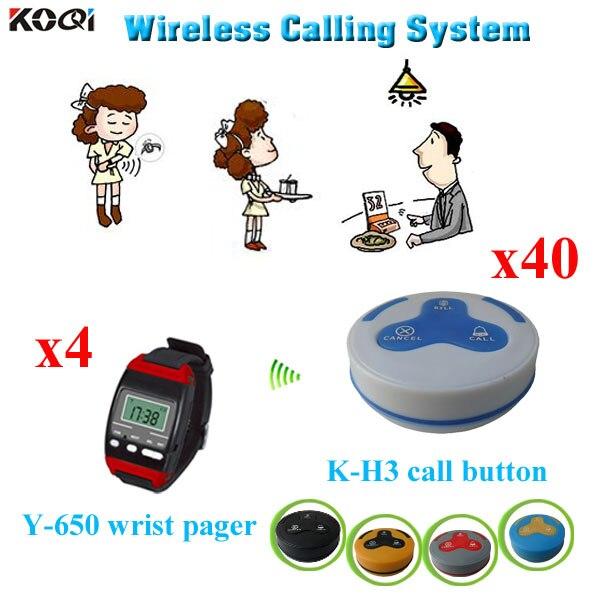 Système d'appel de table de restaurant avec prix de gros 433.923Mhz 4 téléavertisseur de montre-bracelet + 40 système de cloche d'appel