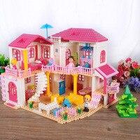 BDCOLE Super Duży Rozmiar Różowy Styl Willa Bloki 800 + Szt Księżniczka zamek Zestaw Zabaw Zabawki Edukacyjne Klocki DIY Zabawka Dziewczyna prezent