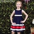 Traje da princesa para As Crianças Vestidos com Velas Impresso Marca 2017 Meninas Do Bebê Vestido de Verão Listrado Escavado para Crianças Vestidos de Festa