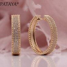 PATAYA New 585 Rose Gold Micro Sáp Inlay Natural Zircon dài Big Dangle Earrings Phụ Nữ Đảng Wedding Cực Sang Trọng Dễ Thương đồ trang sức