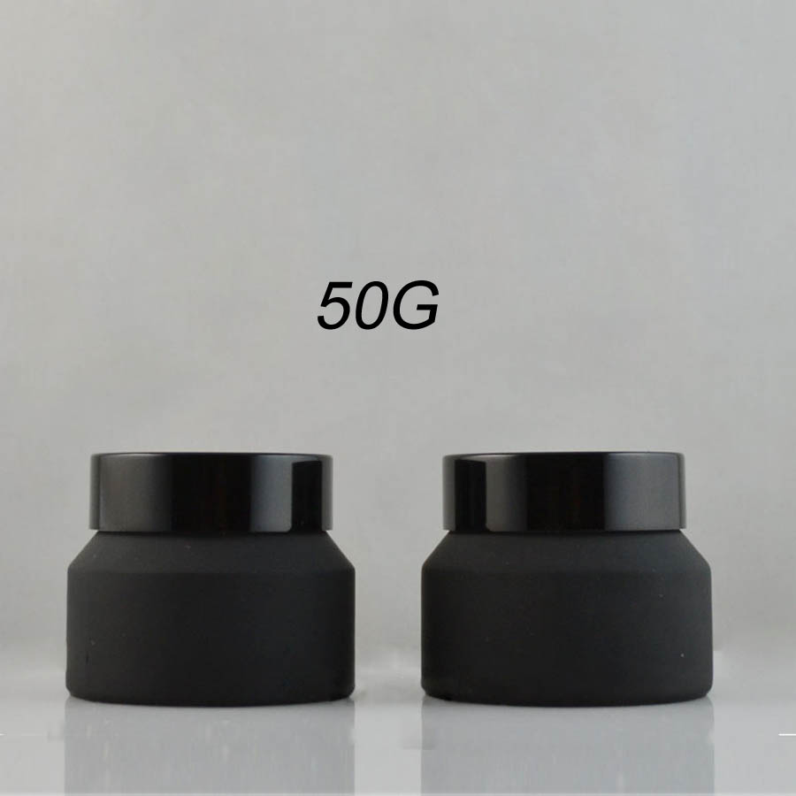 wholesales 50PCS 50g matte frosted black Upscrew Cap lid cover Glass cosmetic lotion jar cream container